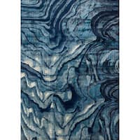 Modern Abstract Indigo/ Blue Area Rug - 5' x 7'6""