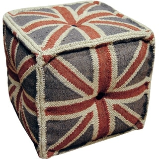 Handmade Indo Wool and Jute Kilim Pouf (India)