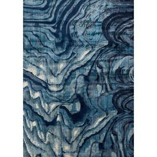 "Phaedra Abstract Indigo/ Blue Rug (1'11 x 3') - 1'11"" x 3'"