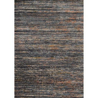 Phaedra Abstract Slate/ Orange Rug (3'11 x 5'9)