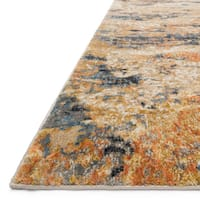 Abstract Gold/ Blue Mid-century Rug - 6'7 x 9'2