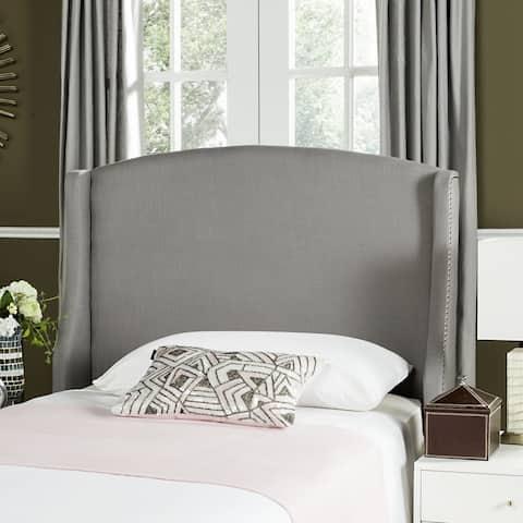 Safavieh Austin Light Grey Cotton Blend Upholstered Wingback Headboard (Twin)