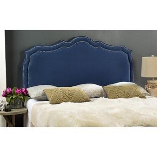 Safavieh Skyler Steel Blue Linen Upholstered Headboard - Silver Nailhead (King)