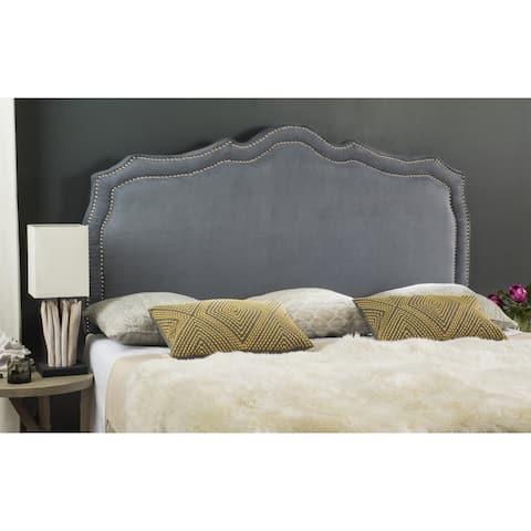 Safavieh Skyler Grey Velvet Upholstered Headboard - Silver Nailhead (King)