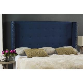 Safavieh Keegan Steel Blue Linen Blend Upholstered Tufted Wingback Headboard (Queen)