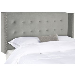 Safavieh Keegan Pewter Velvet Upholstered Tufted Wingback Headboard (Queen)