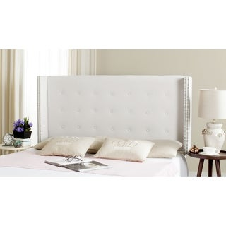 Safavieh Keegan White Velvet Upholstered Tufted Wingback Headboard (Queen)