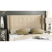 Safavieh Keegan Hemp Linen Upholstered Tufted Wingback Headboard (Queen)