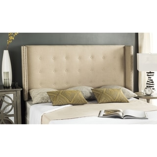 Safavieh Keegan Hemp Linen Upholstered Tufted Wingback Headboard (Queen)