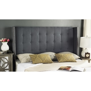 Safavieh Keegan Grey Velvet Upholstered Tufted Wingback Headboard (Full)