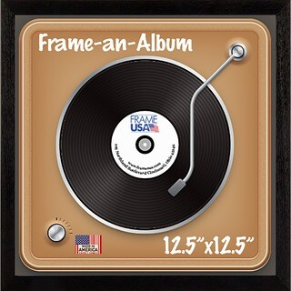 Frame-an-Album Wooden 12.5-inch x 12.5-inch Record Frame (Option: Tan)