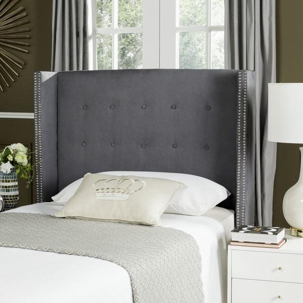 Safavieh Keegan Grey Velvet Upholstered Tufted Wingback