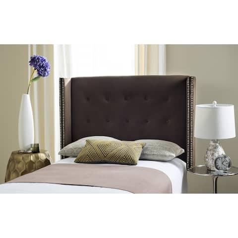 Safavieh Keegan Chocolate Velvet Upholstered Wingback Headboard (Twin)