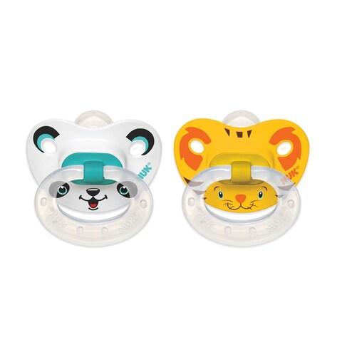 Nuk Animal Faces Yellow/Aqua Plastic Size 2 Orthodontic Pacifiers (Set of 2)