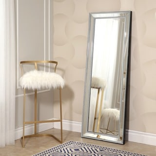 ABBYSON LIVING Venice Silvertone Glass and Wood Rectangular Studded Leaning Floor Mirror