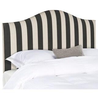 Safavieh Connie Black/ White Camelback Upholstered Headboard - Silver Nailhead (Twin)