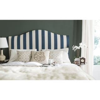 Safavieh Connie Blue/ White Camelback Upholstered King Headboard with Silver Nailhead