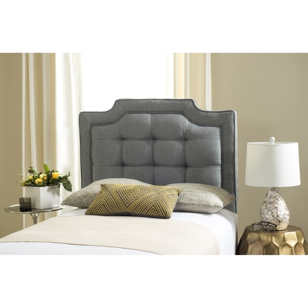 shop safavieh saphire grey upholstered tufted headboard twin on sale free shipping today. Black Bedroom Furniture Sets. Home Design Ideas