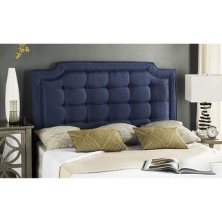 Link to Safavieh Saphire Navy Upholstered Tufted Headboard (King) Similar Items in Bedroom Furniture