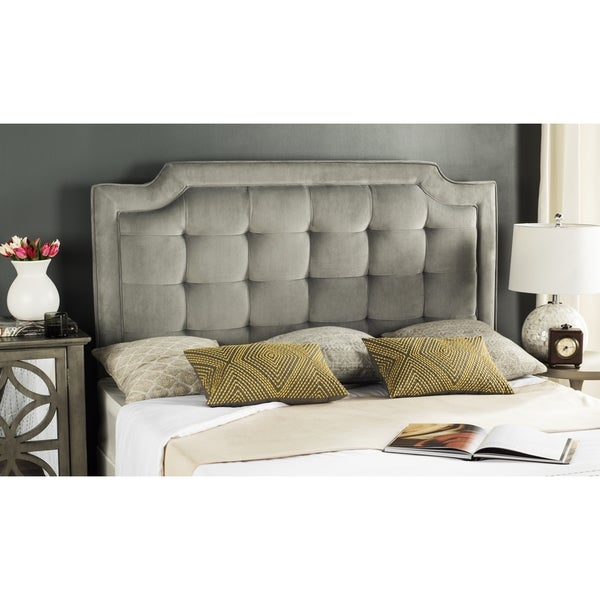 Shop Safavieh Saphire Pewter Upholstered Tufted Headboard