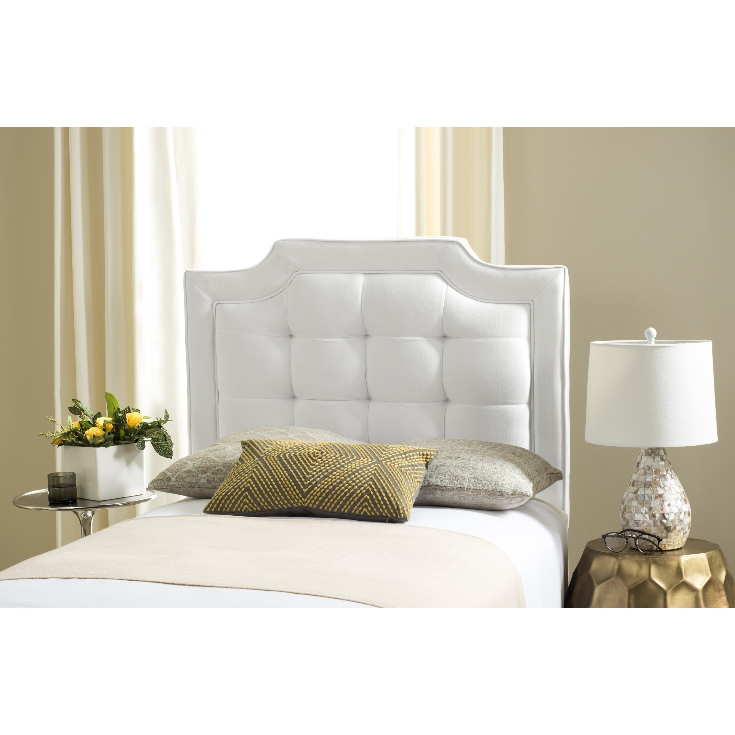 Safavieh Saphire White Upholstered Tufted Headboard Twin Ebay # Muebles Saphire
