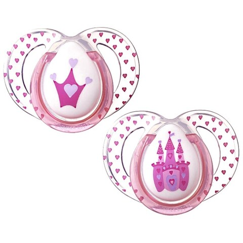 Tommee Tippee Pink Crown/Castle 6-month - 18-month Pack of 2 Everyday Pacifiers