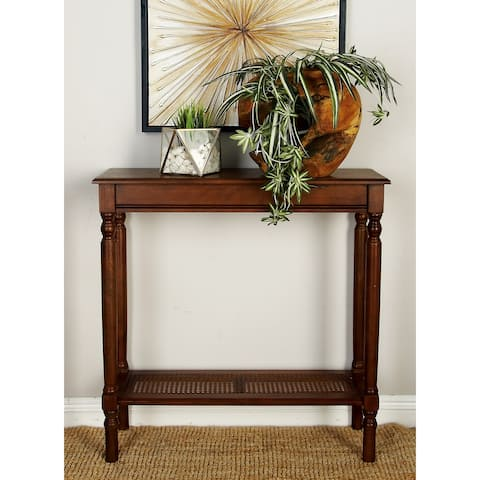 Traditional 32 Inch Rectangular Brown Console Table by Studio 350