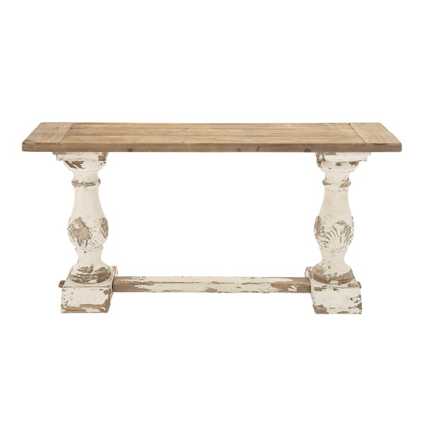 White And Tan Distressed Wood Console Table Free Shipping Today 11924075