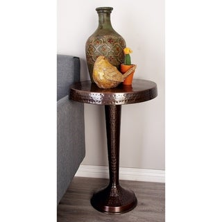Rustic 26 x 19 Inch Round Bronze Aluminum Pedestal Table by Studio 350