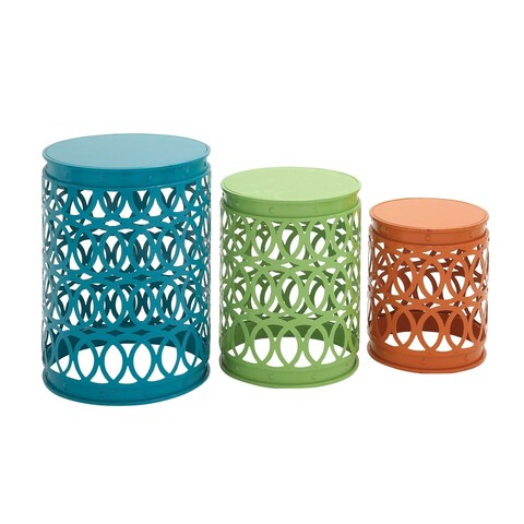 Set of 3 Modern 12, 14 and 16 Inch Iron Accent Tables by Studio 350