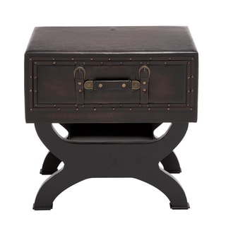 Brown Wood and Leather Chest End Table