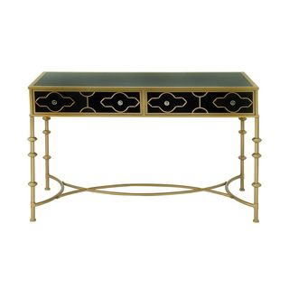 Black and Gold Metal/Glass Console Table