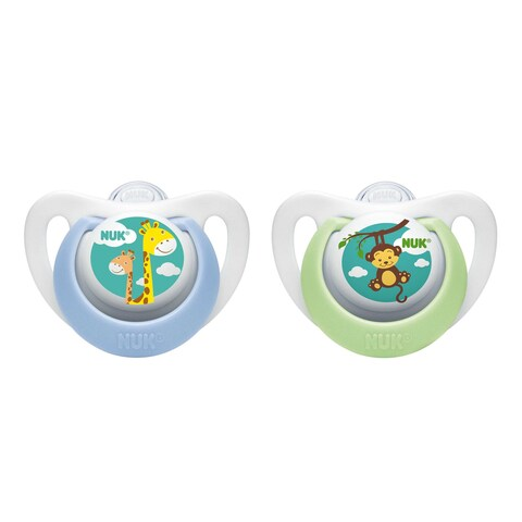 NUK Blue/Green Plastic Newborn Orthodontic Pacifier (Set of 2)
