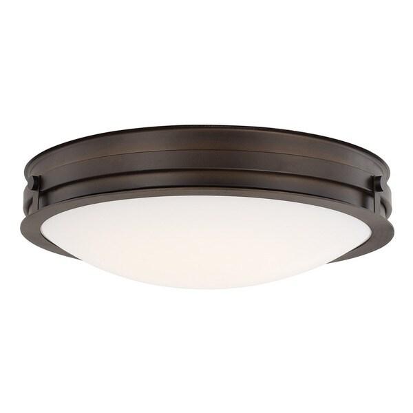 Transitional 1-light Burnished Bronze LED Flush Mount (As Is Item)