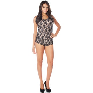 Rhonda Shear Cabaret All Over Stretch Lace Cami and Tap Panty Set