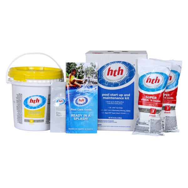Shop hth swimming pool and spa startup and maintenance kit free shipping on orders over 45 for Swimming pool cleaning chemicals list