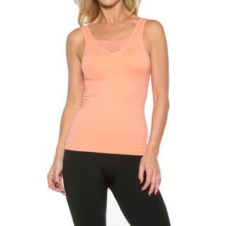Rhonda Shear Seamless Tank With Lace Panel and Shelf