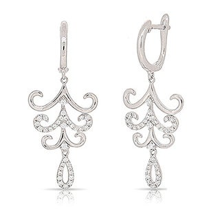 Kabella Sterling Silver Lace Cubic Zirconia Chandelier Earrings