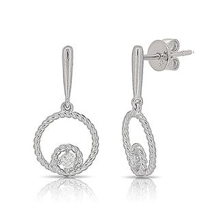 Kabella Sterling Silver Cubic Zirconia Double Circle Rope Dangling Earrings