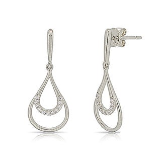 Kabella Sterling Silver Teardrop Cubic Zirconia Dangling Earrings