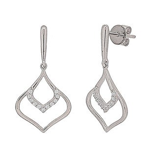 Kabella Sterling Silver Cubic Zirconia Dangling Earrings