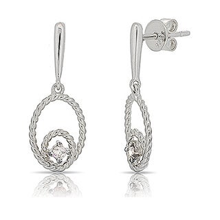 Kabella Sterling Silver Round Cubic Zirconia Dangling Earrings