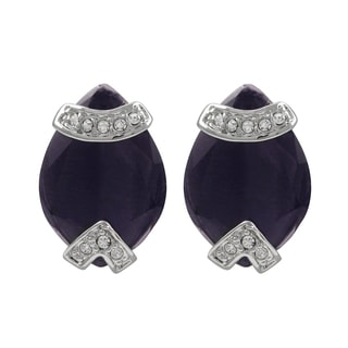 Luxiro Rhodium Finish Pave Crystals Purple Teardrop Earrings