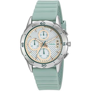 Fossil Women's ES4023 'Modern Pursuit' Chronograph Blue Silicone Watch
