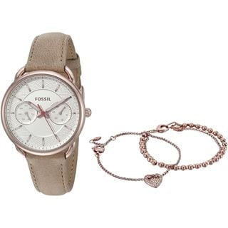 Fossil Women's ES4021SET 'Tailor' Three Bracelet Set Multi-Function Brown Leather Watch