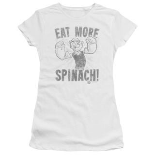 Popeye/Eat More Spinach Junior Sheer in White