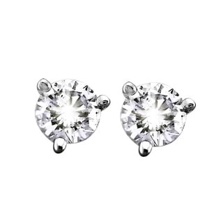 Beverly Hills Charm 14k White Gold 1/4ct TDW Certified Diamonds 3-Prong Martini Stud Earrings (G-H, SI2-SI3)