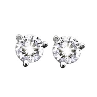 14k White Gold 1/3ct TDW Certified Diamonds 3-prong Martini Stud Earrings by Beverly Hills Charm