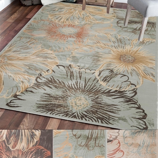 Admire Home Living Gallina Flower Area Rug (7'10 x 10'6) - 7'10 x 10'6