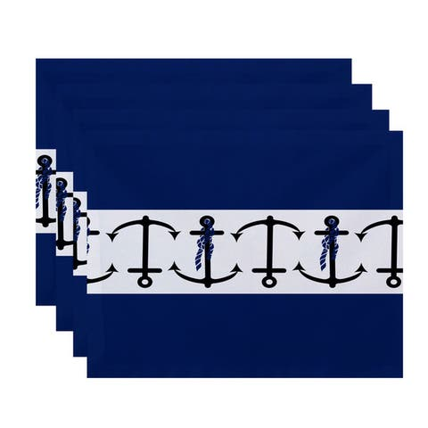 18 x 14-inch Anchor Stripe Print Placemat (Set of 4)